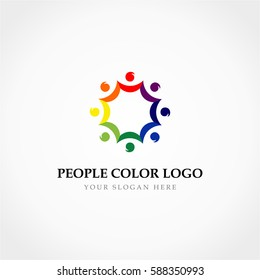 Simple Octagonal People Full Color Logo