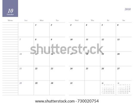 simple october 2018 calendar week starts from sunday