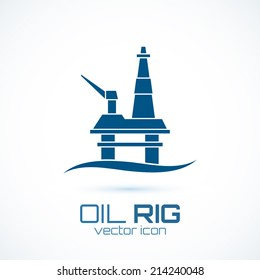Simple oil rig, conceptual icon. Perfect for logo, background or presentation. Vector illustration