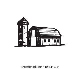Simple Old Barn and Silo Tower on the Farm Farming Agriculture Vintage Retro Hand Drawing Symbol Logo Vector