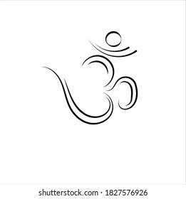 """Simple """"Om"""" Tattoo Symbol Design vector."""