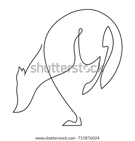 simple one line wolf logo stock vector royalty free 715876024