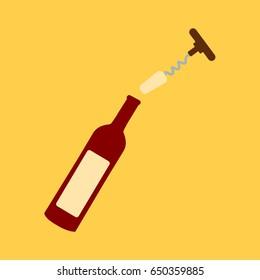 simple opener vector wine uncork & opened bottle of wine isolated clean . open wine bottle. cartoon flat design style red or wine bottle modern.