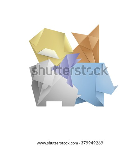 Simple Origami Symbol Icons Animals Template Design Stock Vector