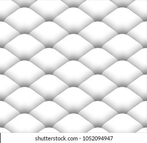 Simple ornament in the form of fish scales or tiles. Black and white seamless pattern in zentangle style. Contrast mosaic drawing. Easy to edit and use. Vector illustration.