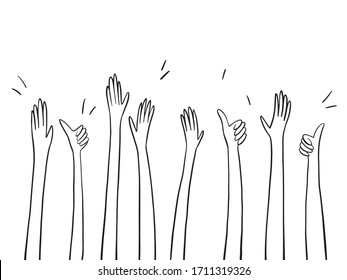 Simple outline applause hands up set. Simple hand drawn doodle style. Thumb, palm