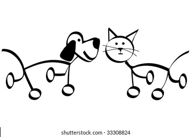 Simple outline drawing of dog and cat, vector illustration