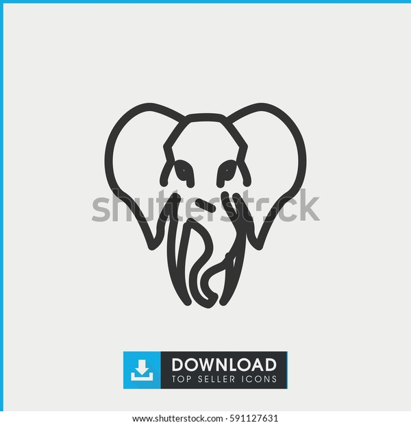 Simple Outline Elephant Vector Icon On Stock Vector (Royalty Free