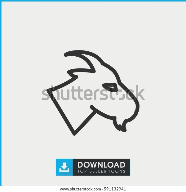 Simple Outline Goat Vector Icon On Stock Vector (Royalty