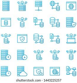 Simple Outline Gradient web hosting icons set, Vector