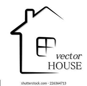 simple outline house/ vector pictogram illustration