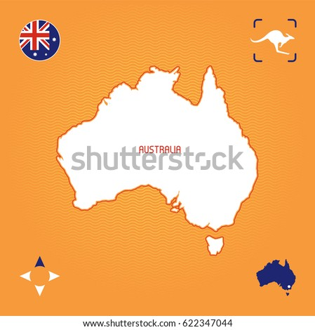 Simple Map Of Australia.Simple Outline Map Australia Stock Vector Royalty Free 622347044