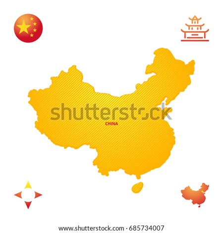 Simple Outline Map China Stock Vector (Royalty Free ...