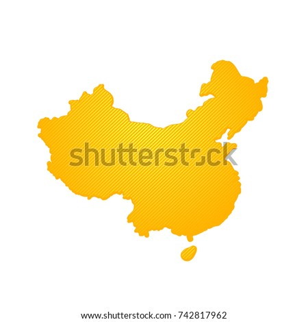 Simple Outline Map China Stock Vector (Royalty Free) 742817962 ...