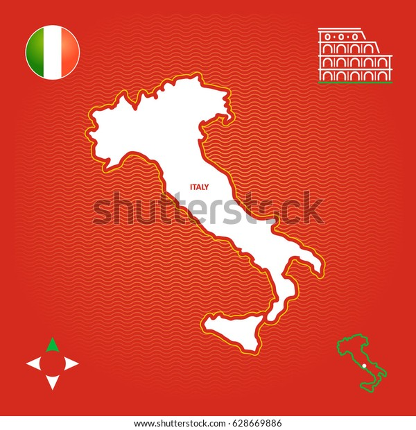 Simple Outline Map Of Italy.Simple Outline Map Italy Stock Vector Royalty Free 628669886