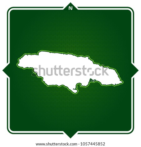 Simple Outline Map Jamaica Compass Stock Vector (Royalty Free ...
