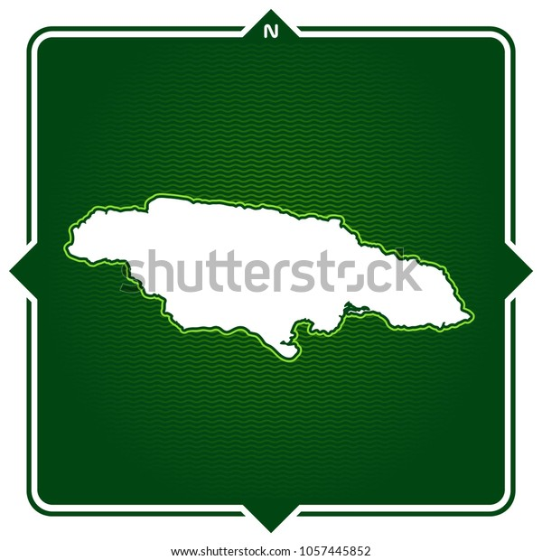 Simple Outline Map Jamaica Compass Stock Vector (Royalty ...