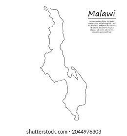 Simple outline map of Malawi, vector silhouette in sketch line style