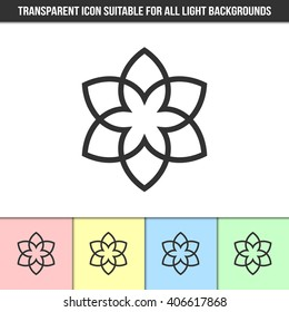Simple outline transparent abstract icon on different types of light backgrounds