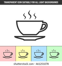 Simple outline transparent cup icon on different types of light backgrounds