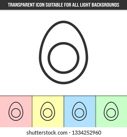 Simple outline transparent egg icon on different types of light backgrounds