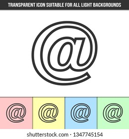 Simple outline transparent e-mail icon on different types of light backgrounds