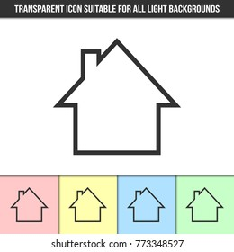 Simple outline transparent house silhouette icon on different types of light backgrounds