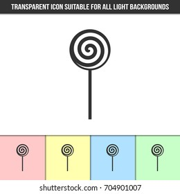 Simple outline transparent lollipop icon on different types of light backgrounds