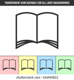Simple outline transparent open book or brochure icon on different types of light backgrounds