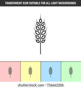 Simple outline transparent wheat, spelt, rye or barley spike icon on different types of light backgrounds