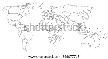 simple outline world map on transparent stock vector royalty free