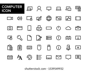 Simple outlined computer software technology icon. Computer Operating system icon set. Basic outlined digital computer basic element icon.