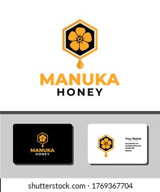 Simple and outstanding logo template design that illustrates simple honeycomb icon and manuka flower