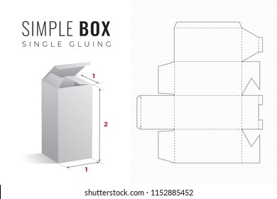 Simple Packaging Box Die Cut Double Height Template with 3D Preview -  Black Editable Blueprint Layout with Cutting and Scoring Lines on Striped Background - Vector Draw Graphic Design