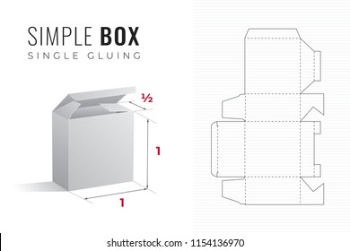 Simple Packaging Box Die Cut Half Length Template with 3D Preview -  Black Editable Blueprint Layout with Cutting and Scoring Lines on Striped Background - Vector Draw Graphic Design