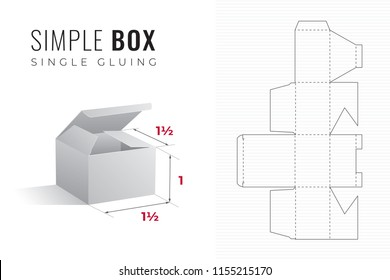 Simple Packaging Box Die Cut One and a Half Length and Width Template with 3D Preview -  Black Editable Blueprint Layout with Cutting and Scoring Lines on Striped Background - Vector Draw Design
