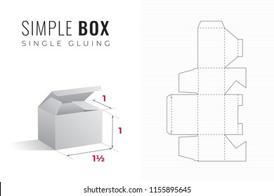 Simple Packaging Box Die Cut One and a Half Width Template with 3D Preview -  Black Editable Blueprint Layout with Cutting and Scoring Lines on Striped Background - Vector Draw Graphic Design