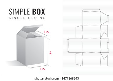 Simple Packaging Box Die Cut One and a Half Length Double Height Template with 3D Preview -  Black Editable Blueprint Layout with Cutting and Scoring Lines on Background - Vector Draw Graphic Design