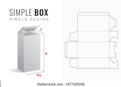 Simple Packaging Box Die Cut One and a Half Width Triple Height Template with 3D Preview -  Black Editable Blueprint Layout with Cutting and Scoring Lines on Background - Vector Draw Graphic Design