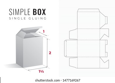 Simple Packaging Box Die Cut One and a Half Width Double Height Template with 3D Preview -  Black Editable Blueprint Layout with Cutting and Scoring Lines on Background - Vector Draw Graphic Design