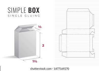 Simple Packaging Box Die Cut One and a Half Width Double Height and Half Length Template with 3D Preview -  Black Blueprint Layout with Cutting and Scoring Lines on Background - Vector Draw Design