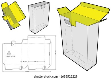 Simple Packaging Box Flute Type E (Internal measurement 18.2 x 6.7 + 23.4 cm) and Die-cut Pattern. The .eps file is full scale and fully functional. Prepared for real cardboard production.