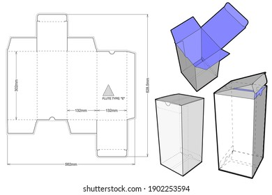 Simple Packaging Box Flute Type E (Internal measurement 13x13x30cm) and Die-cut Pattern. The .eps file is full scale and fully functional. Prepared for real cardboard production.