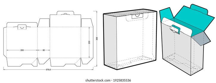 Simple Packaging Box (Internal measurement 20x80x20cm) and Die-cut Pattern. The .eps file is full scale and fully functional. Prepared for real cardboard production.
