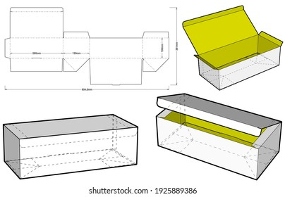 Simple Packaging Box (Internal measurement 26x13x10cm) and Die-cut Pattern. The .eps file is full scale and fully functional. Prepared for real cardboard production.