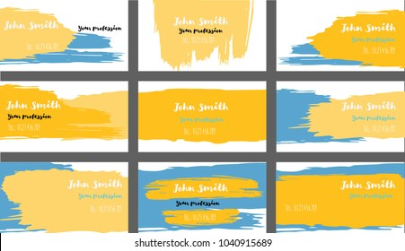 Simple Painted Business Cards Vector Templates. Funky Paint Brush Strokes Cool Banners Set. Creative Modern Artistic Cute Graphic Ads Backgrounds. Funky Hipster Business Cards Vector Template.