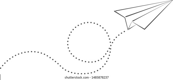 simple paper plane and spiral flight path vector illustration