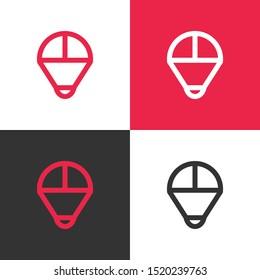 Simple parachute logo template, paragliding vector icon illustration design