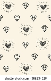 Simple pattern with diamonds and hearts. Naive style doodle seamless texture, perfect for fabric design,wrapping paper, web page, scrapbook elements.