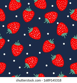 A simple pattern of strawberries. Dark background, ripe strawberries, white dots.The print is well suited for textiles, Wallpaper and packaging.